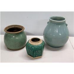 Qty 3 Misc Sized Blue Glazed Ceramic Vases Jars