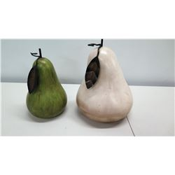 Qty 2 Large Decorative Pears - White and Green w/ Leaves