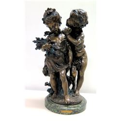 """Whispering Children"" Bronze Cast Statue on Marble Base by Moreau 17""H"
