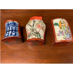 """Qty 3 Chinese Lacquered Trinket Boxes w/ Painted Top (approx. 8""""L x 4""""W)"""