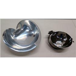 Nambe 543 Sean O'Hara Heart-Shaped Metal Dish & Round Bowl Signed by Artist