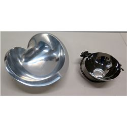 Round 'Michale Aram' Bowl  & Heart-Shaped Bowl by Sean O'Hara (Nambe 543)