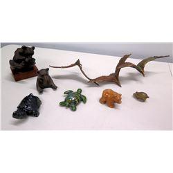 Qty 7 Animal Figurines - Turtles & Bear, Carved Wooden Bear, Metal Seagulls, etc