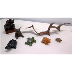 Qty 7 Animal Figurines - Turtles & Bear, Carved Wooden Bear, Metal Seagulls, etc