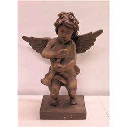 "Carved Wooden Angel Figurine on Base Holding Horn 21""H"