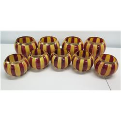 Qty 9 Mackenzie-Childs Round Yellow & Red Glass Candle Holders