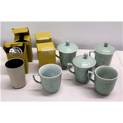 Qty 5 Glazed Mint Green Teacups, 3 w/ Lids & 4 Boxes, etc.