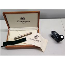 1912 Montegrappa Italy Ballpoint Pen in Wood Box & Mont Blanc 50ml Inkwell