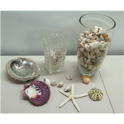 Assorted Shells, Abalone Shell, Starfish, etc &  - Glass Vase w/ Misc Seashells