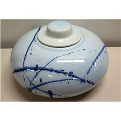 """Round White/Blue Glazed Ceramic Bowl w/ Lid 12"""" Dia"""