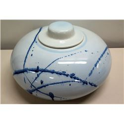 "Round White/Blue Glazed Ceramic Bowl w/ Lid 12"" Dia"