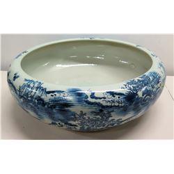 "Large Round Oriental White & Blue Ceramic Bowl w/ Markings 21"" Dia"