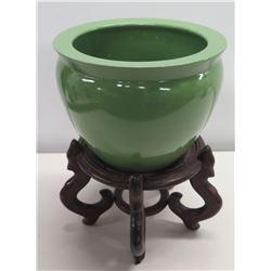 "Glazed Green Ceramic Planter w/ Wooden Stand 12"" Dia, 16""H"