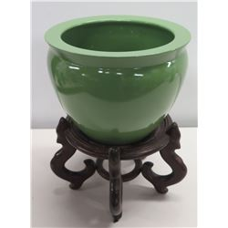 "Glazed Green Ceramic Planter w/ Wooden Stand 12"" Dia, 16""H"