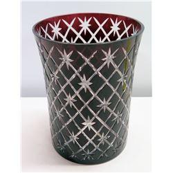 "Cranberry Cut Glass Vase 7"" Dia x 10""H"