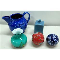Qty 2 Decorative Glass Balls, Green Glass Vase Square Vase & Ceramic Pitcher