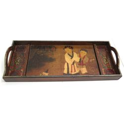 "Decorative Painted Oriental Wooden Tray 24"" Long"