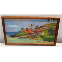 "Small Original Framed Painting: Beachside Homes & Palm Trees 16"" W"