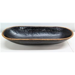 "Large Oval Wooden Bowl w/ Woven Border 27.5""L x 10""W"