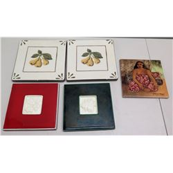 Qty 5 Painted Trivets - 2 Pear Design, Yvonne Cheng Hawaiian Woman & 2 Holiday Tiles