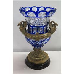 "Blue White Glass Crystal Vase w/ Metal Base & Swan Handles 9"" Dia x 18""H"