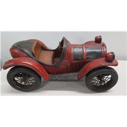 "Vintage Wood Carved Reprocrafters MCMXCV Black Red Roadster Car 21"" Long"