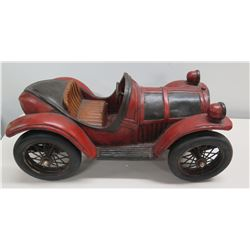 "Large Vintage Wood Carved Reprocrafters MCMXCV Black Red Roadster Car 21"" Long"