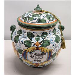 "Painted Ceramic Di Gamillo 'Biscotti 1920' Jar w/ Lid & 2 Handles, Made in Italy 14""H"