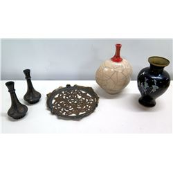 Qty 4 Vases & Round Wood Cut-Out Dish (Italy), 2 Black Vases