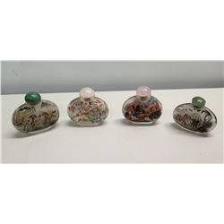 Qty 4 Vintage Glass Painted Chinese Snuff Bottles w/ Stoppers