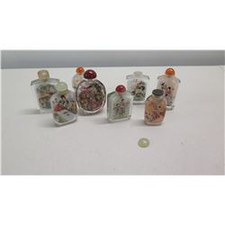 Qty 8 Vintage Glass Painted Chinese Snuff Bottles w/ Stoppers