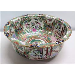 """Round 'Famille Rose' Asian Bowl, Pagoda Motif, Tag on Bottom 16"""" x 7""""H"""