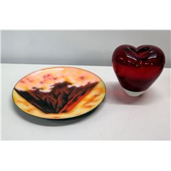 Glazed Collector Plate (from Ando Cloisonne) & Red Glass Heart
