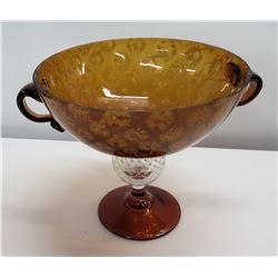 """Large Brown Glass Bowl w/ 2 Handles & Pedestal Base 11"""" Dia x 10""""H"""