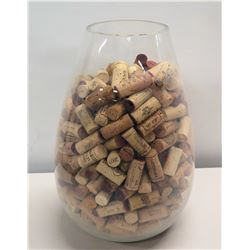 "Large Clear Glass Vase Filled w/ Assorted Wine Corks 15""H"