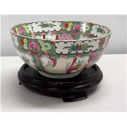 "Famille Rose Round Asian Bowl w/ Footed Base, Has Maker's Mark 10"" x 4""H"