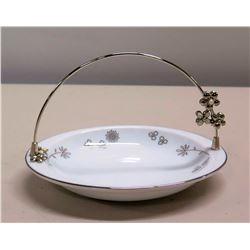 Small Mikimoto Japan Porcelain Plate w/ Metal Handle & Flowers