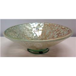 """Round Footed Crackle Glass Bowl by Erin Blakeley 2002 (glued onto round trivet) 13"""" Dia x 4""""H"""