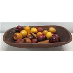 "Oval Wooden Bowl with Decorative Fruit - Apples, Pears, etc (bowl 23""L x 13""W)"