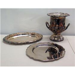 Ralph Lauren MCMLXVII Platter, Leonard Silverplate Ice Bucket & Sheffield Tray