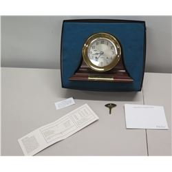 """Wooden Desk Clock w/ """"Mahalo"""" & Engraved Message w/ Ship's Bell Code"""