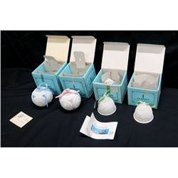 Qty 4 Lladro Christmas Ornaments in Original Box: 2 Round w/ Lid & Ribbon, 2 Bells