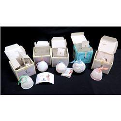 Qty 5 Lladro Christman Ornaments in Original Box: 3 Round w/ Lid & Ribbon, 2 Bells