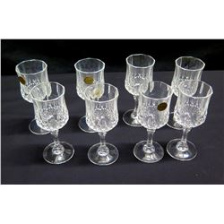 Qty 8 Cristal d'Arques (France) Genuine Lead Crystal Stemmed Wine Glasses