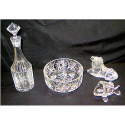 Qty 4 Cut Glass/Crystal Pieces - Decanter, Bowl, Lion & Fish