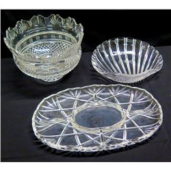 Qty 3 Cut Glass Pieces - Platter, Scalloped Edge Bowl & Shell Dish