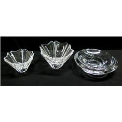Qty 3 Orrefors (Sweden) Bowls - 2 Orion & 1 Round Crystal Bowl