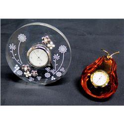 Qty 2 Clocks: Round Mikimoto w/ Floral Motif & Wako Glass Pear Shape