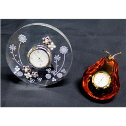 Qty 2 Clocks: Round Mikimoto w/ Floral Motif & Wako Glass Pear Shape