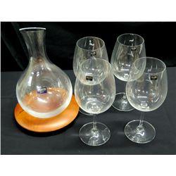 Qty 4 Atlantis (Portugal) Stemmed Wine Glasses & Decanter w/ Wood Base
